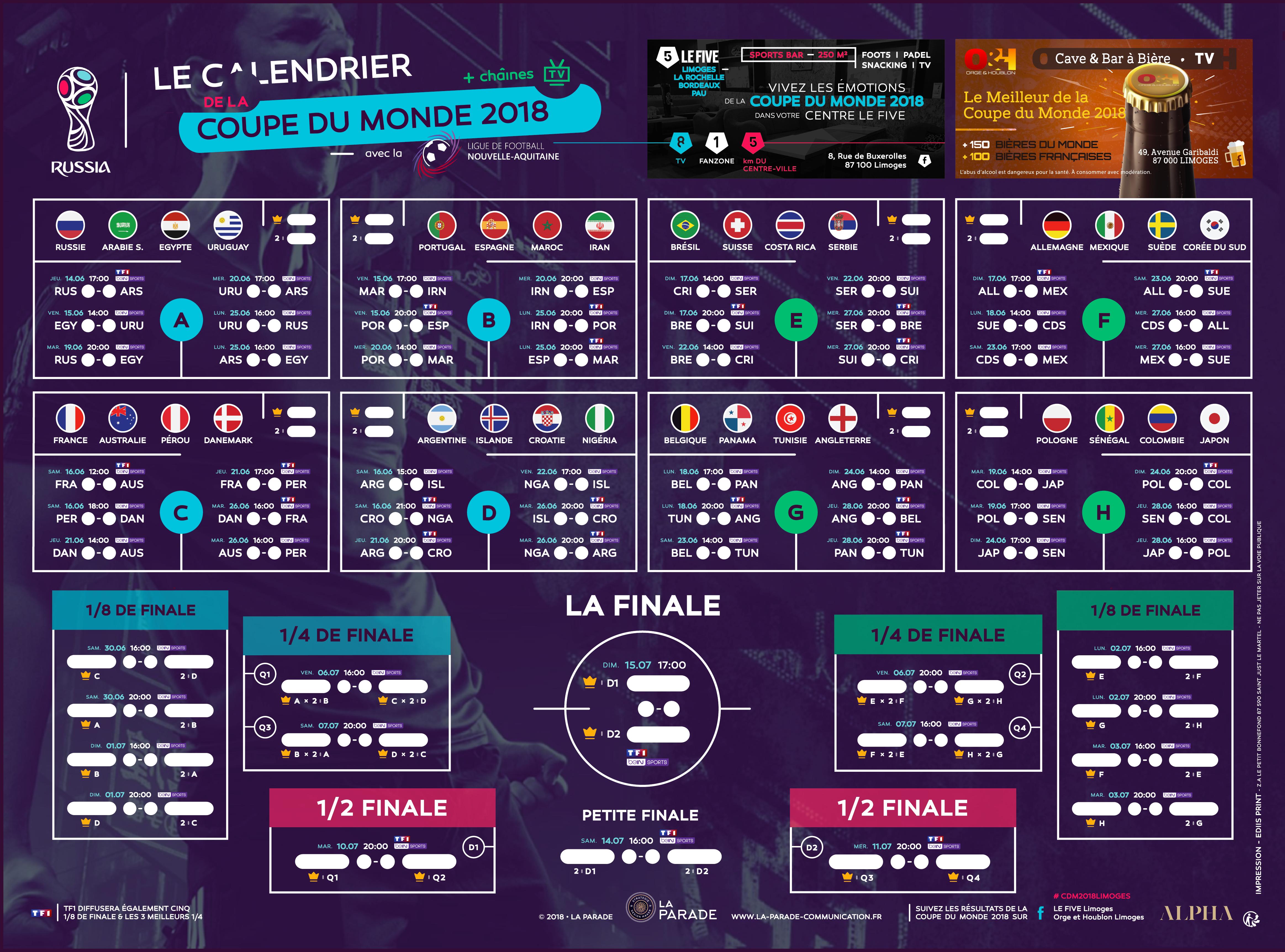 Coupe Du Monde De Football Calendrier.Actualite Calendrier De La Coupe Du Monde 2018 Club